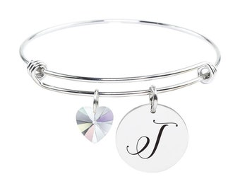 Initial Bangle made with Crystals from Swarovski - T - SWABANGLE-GLD-AB-T - Silver