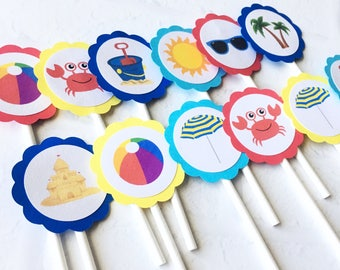 Beach Theme Cupcake Toppers - Summer Cupcake Toppers - Beach Party Decor - Summer Party Decor - Beach Birthday - Baby Shower - Pool Party