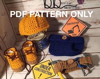 Construction Worker Set - PDF PATTERN Crochet - 0-3 month size