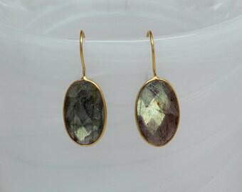Labradorite Bezel Earrings, Gemstone Earrings, Oval Dangle Gemstone Earrings, Bezel Drop Earrings, Vermeil Gemstone Earrings, Gold Earrings