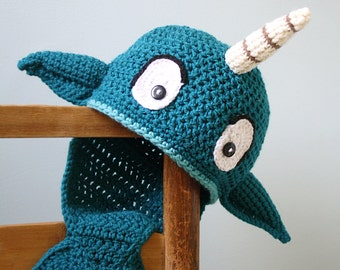 Narwhal Hat, Crochet Beanie, Whale, Fish, Winter Hat, Children's Clothing, Men, Women, Boys, Girls, Holiday Gift, Halloween Costume, Fun Hat