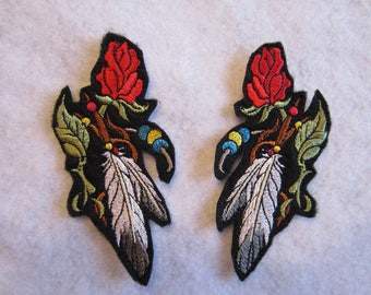 Embroidered Southwestern Rose Iron On Patch, Southwestern Rose, Rose And Feathers, Rose And Feather Applique,