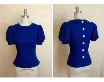 Made to order puff sleeve blouse with back buttons