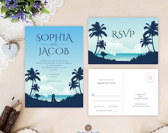 Rustic wedding invitations by onlybyinvite on etsy hawaiian wedding invitations with rsvp postcards printed on shimmer paper palm tree wedding invitations cheap filmwisefo