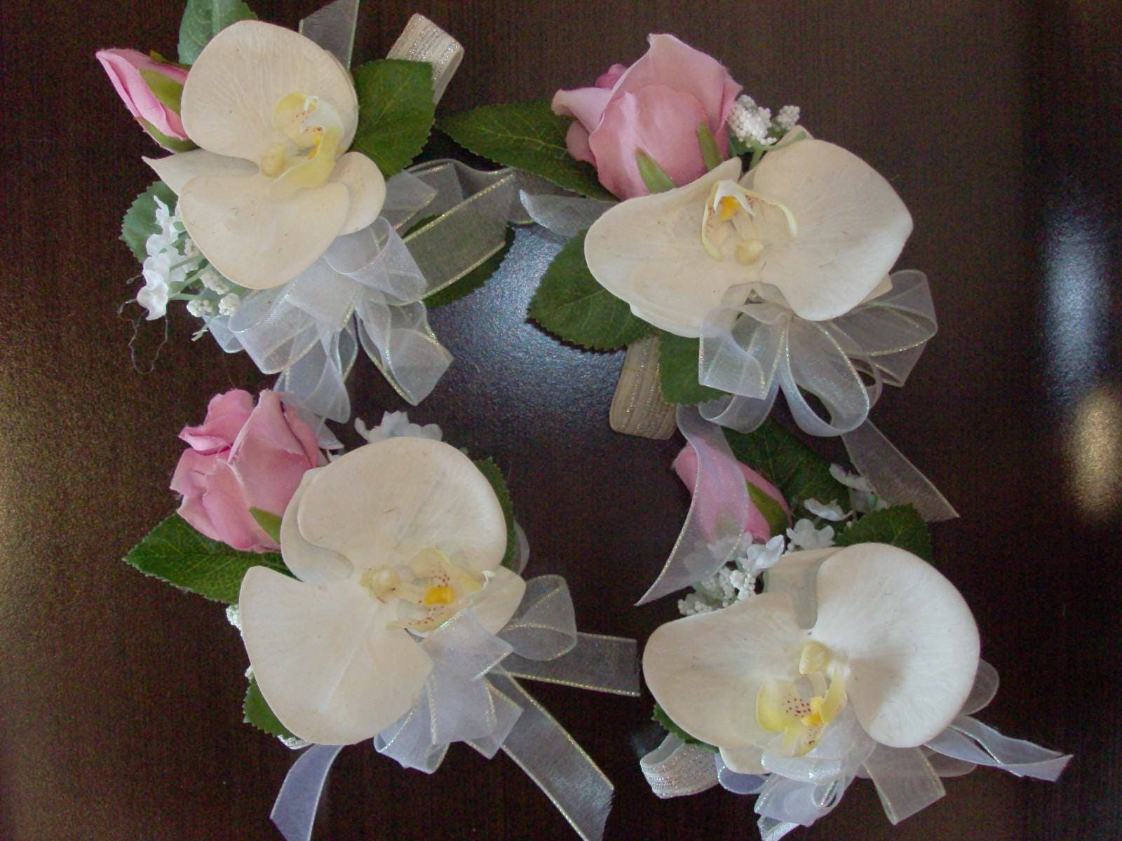 2 pc set prom corsage and boutonniere hot pink white magenta orchid fantasy wedding flowers izmirmasajfo