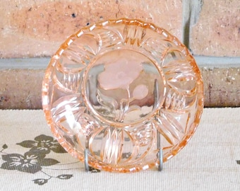 Art Deco 1930s peach glass side, sweets, dessert dish, Mother's Day gift idea