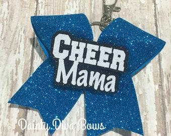 Cheer Mom Mini Cheer Bow Keychain, Cheer Mama, Cheer Mom, Cheer Keychain, Glitter, Bag Tag, Cheer Mom Gift, Cheer Gift, Backpack