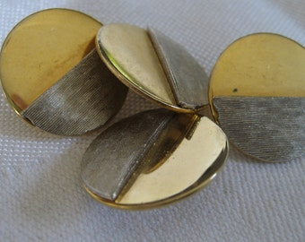 Set of 4 VINTAGE Silver & Gold Metal BUTTONS