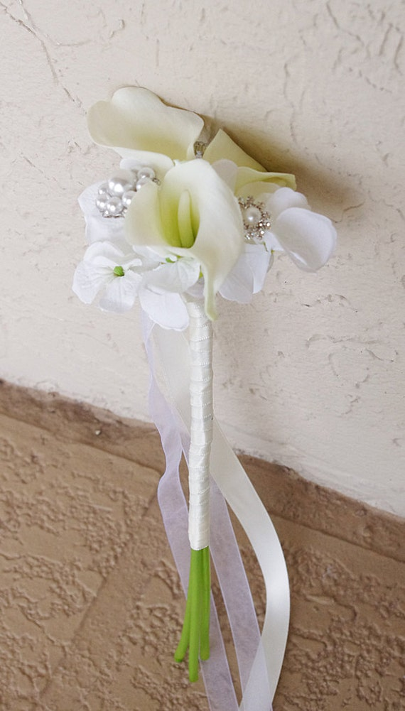 Calla Lily and Jewel Brooch Flower Girl Wedding Wand Bouquet