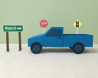 3D Paper Truck Craft: Instant Download Template