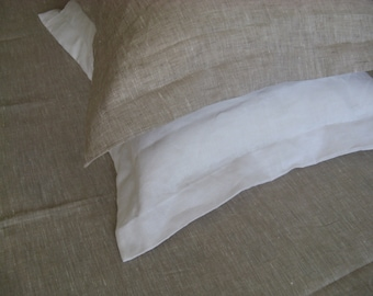 Oxford style Linen Pillow Cover Case Sham Cushion White or Oatmeal Beige pure 100% Flax Standard Queen King Euro Pillowcase Slip