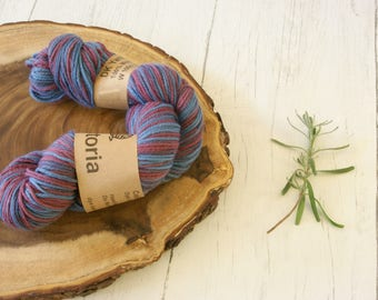 Merino Wool 100g skein DK, double knit, Indigo and Lac Dyed Variegated Blue and Purple, Hand Dyed, Natural Dyes, plant dyes,