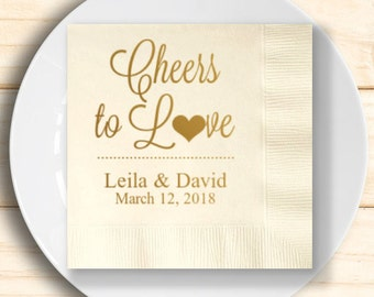 100 pcs Cheers to Love Personalized Napkins - Engagement Napkins