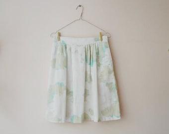 Vintage Midi Skirt/Full Midi Skirt/Floral Midi Skirt/Pocket Midi Skirt/American Vintage/White Flowery Skirt/Feminine Skirt/1980-90s Style