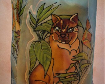 First Cat, a hand-painted silk scarf