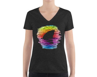 Rainbow Waters V-neck T-Shirt - Shark T-Shirt - Shark Fin T-Shirt Shark Awareness Week TShirt LGBT Women's Fashion Deep V-neck Tee
