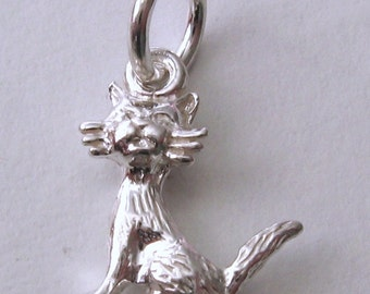 Genuine SOLID 925 STERLING SILVER 3D Cat Animal charm/pendant