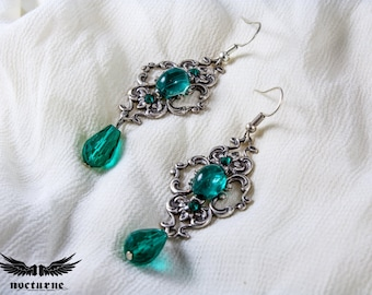 Emerald Green Stone Victorian Earrings - Statement Gothic Earrings - Victorian Gothic Jewelry