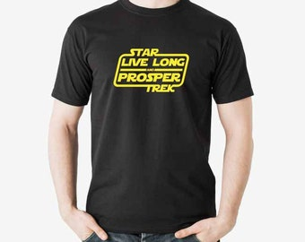 Star Trek Live Long and Prosper Star Wars irony shirt. Confuse your geek friends Small to XXXL