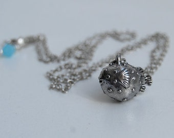 Little Blowfish Necklace | Puffer Fish Charm Necklace | Cute Blowfish Necklace