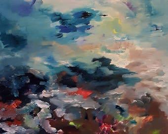 Magnificent Storm, Ocean Oil Painting, Oregon Tide Pools, Yachats Tide Pools, Fisherman Retreat, Pacific Northwest Ocean, Birds, KSonya Oil