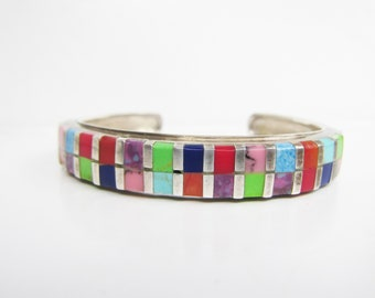 "Sterling Silver Multi Stone Inlay Cuff Bracelet - 5 3/4 - 6""   2586"