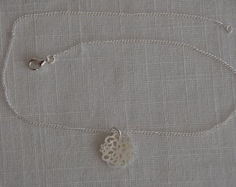 Necklace silver and Pearl pattern floral