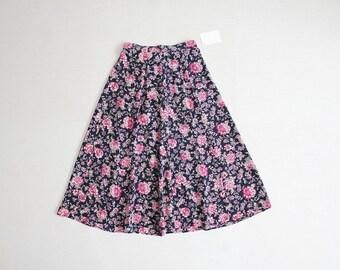 floral silk skirt   90s floral skirt   full floral skirt