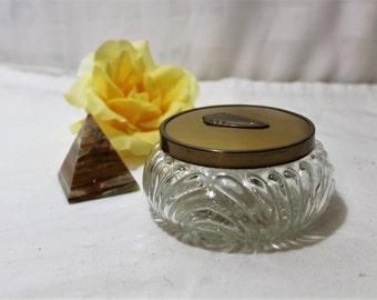 Vintage Art Deco Glass Powder or Trinket Jar with Metal Lid