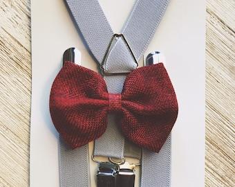 Groomeen Outfit rustic wedding Toddler Suspenders Grey Boy Suspenders Gray Wedding Suspender and Bow Tie Set Suspenders