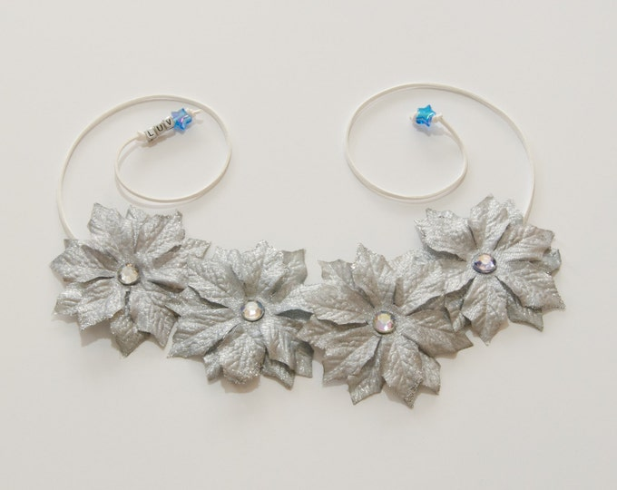 Silver Poinsettia Flower Crown