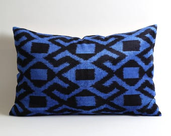 velvet ikat pillow, decorative pillows, pillow, handmade, silk, ikat pillow cover, toss pillow, ikat velvet, ikat pillows, velvet cushion