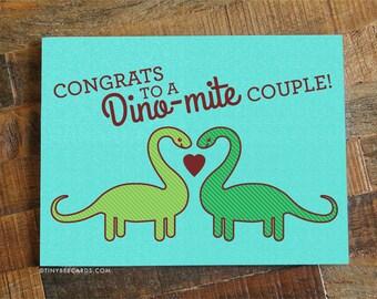 "Cute Wedding Card ""Congrats to a Dino-mite Couple"" - Cute Dinosaur card, pun card, engagement card, congratulations, card for bride & groom"