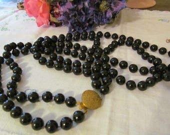 Black Double Strand Beaded Necklace Vintage Necklace