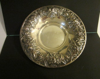 S Kirk Son Repousse Sterling Bowl Floral Chasing Border Marked Numbered