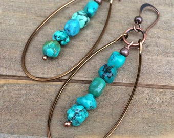 Turquoise Earrings - Turquoise Jewelry - Genuine Turquoise Jewelry - Copper Earrings - Southwestern Jewelry - Copper Jewelry - Gift for her