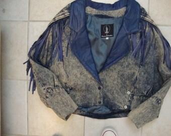 Vintage 80er Jahre Diamanten Lederfransen Stonewashed Denim Jacke M