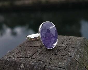Natural Tanzanite Ring - Handmade & Silver