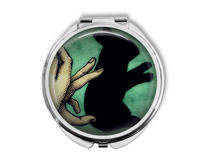Rabbit Shadow Puppet Compact Mirror Pocket Mirror Large Gifts for her