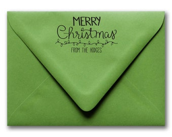 Custom Christmas Stamp, Holiday Stamp, Merry Christmas Stamp, Hand Drawn Stamp, Hand Lettered Stamp
