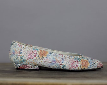 80s WOODWARD FLORAL LEATHER  flats size 7 1/2b
