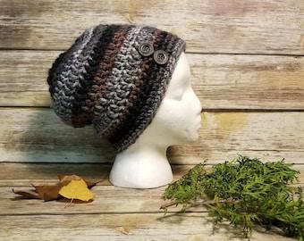 Crochet Beanie Hat, Handmade beanie, Messy Bun Hat, Black messy bun hat, striped messy bun hat, brown messy bun hat, Handmade hat,