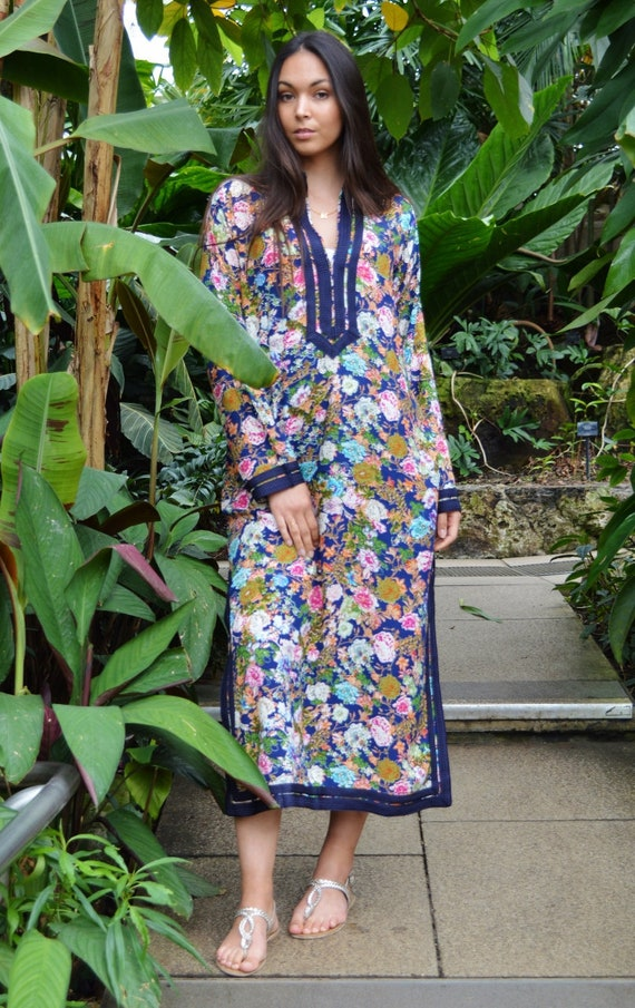 Floral Mariam Style Caftan Kaftan Blue- loungewear,resortwear, beach kaftan, moroccan dress, holiday kaftan, maxi dress,boho dress, moroccan