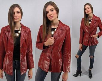 Vintage 70s Leather Jacket, Boho Leather Jacket, Red Leather Jacket, Boho Chic, Hippie Δ size: sm / md