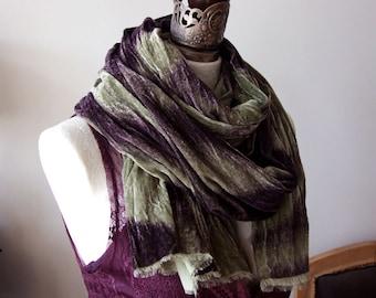 Auberginen Aubergine Ombre Schal samt extragroßen Schal, klobige Schal, übergroßen Schal, lange faltige Schal wickeln, Schal, High-Fashion-Schal