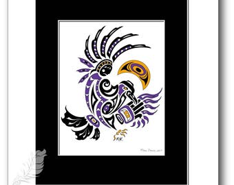 "Haida Style Raven Art Print - ""Moon Dance"" -  Pacific Northwest Coast Style Crow Art Print - 8x10"