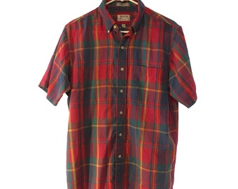 1980s Red plaid button up Size M/L