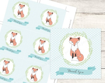 fox baby shower favor tags printable woodland DIY baby boy fox favour tags blue grey cute thank you cards - INSTANT DOWNLOAD