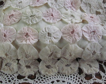 Antique YO YO Pillow Shabby Pink Vintage Silk Fabric Yo Yo Pillow Pastel Pink and White Cottage Chic Decor Antique Baby Room Nursery decor