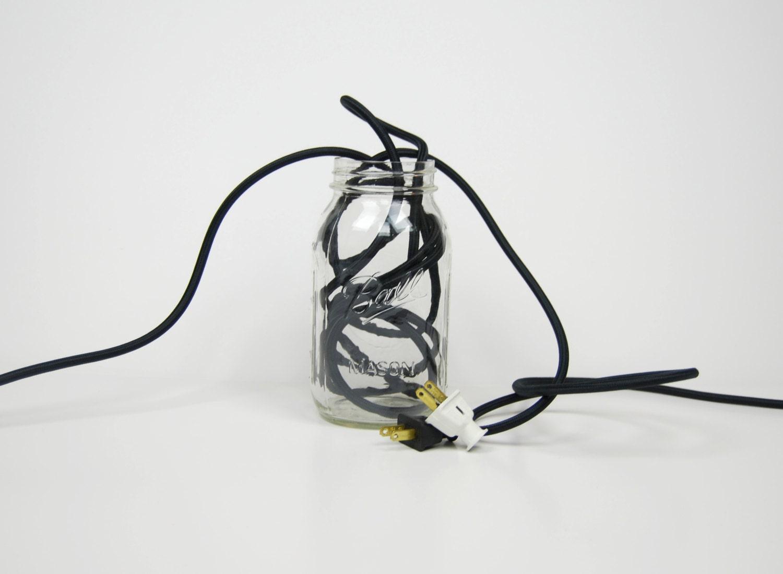 Pendant Light Cord Set (8-Foot) - Black - Round Nylon Cloth-Covered ...